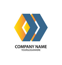 hexagon business logo vector image
