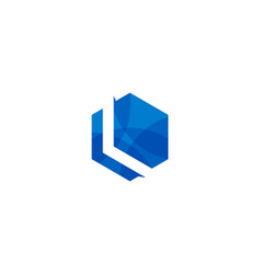 hexagon letter l logo icon design vector image