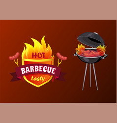 hot barbecue party sausages vector image