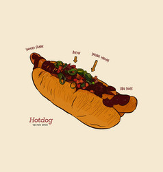hot dog sketch drawing fast food vector image