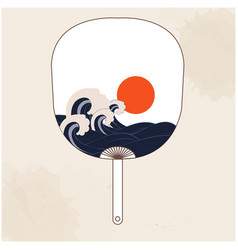 Japanese fan sunset wave background image vector
