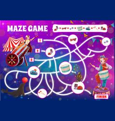 Kids board game maze labyrinth circus clowns vector