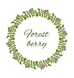 kinnikinnick or uva-ursi forest wreath vector image