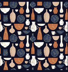 Kintsugi broken pottery vase seamless pattern vector