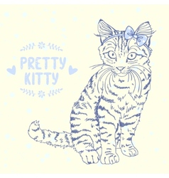 kitten sketch with a bow vector image
