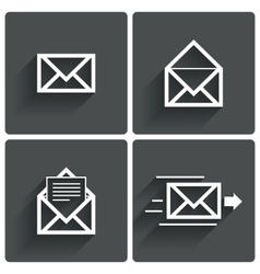 Mail icons Mail delivery sign Letter in envelope vector