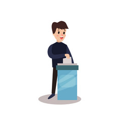 Man character putting a ballot into a voting box vector