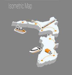 map new zealand isometric concept vector image