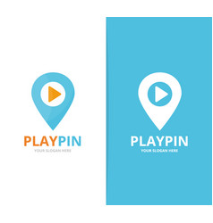 Map pointer and button play logo vector