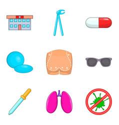 Medical checkup icons set cartoon style vector