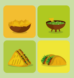 Mexican food collection on frames vector