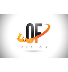 of o f letter logo with fire flames design and vector image
