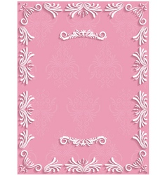 Pink vintage background with floral vector