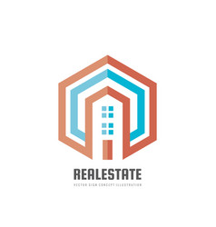 real estate - logo template concept vector image