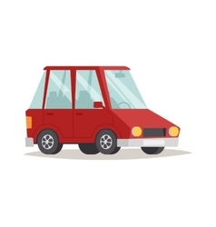 Red cartoon car design flat vector image