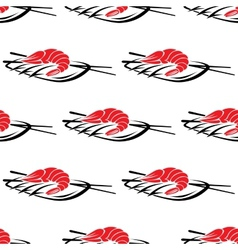 Red grilled prawn on a plate with chopsticks vector