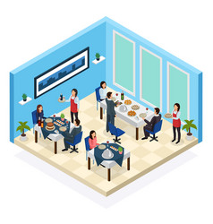Restaurant service isometric composition vector