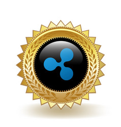 Ripple cryptocurrency coin gold badge vector