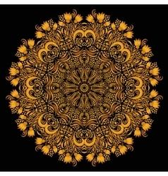 Round khokhloma pattern vector