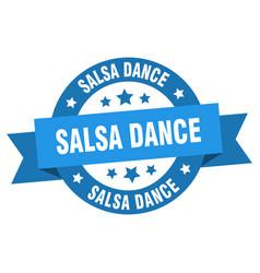 salsa dance ribbon salsa dance round blue sign vector image