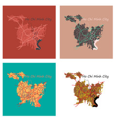 Set of flat ho chi minh city administrative map vector