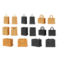 shopping bag mockup craft paper bags black empty vector image