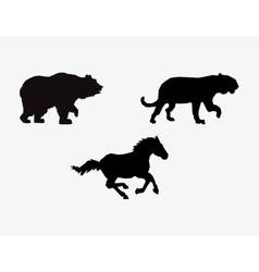 Silhouetttes of horse big cat and bear icons image vector