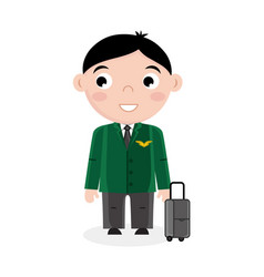 Smiling little boy in pilot uniform with bag vector