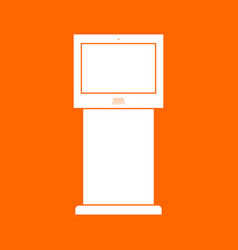 terminal stand with touch screen white icon vector image