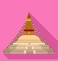 Thai temple icon flat style vector