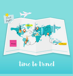 Time to travel map and tourist equipment plan to vector