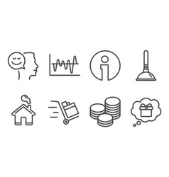 Tips plunger and good mood icons push cart vector