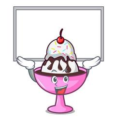 Up board ice cream sundae character cartoon vector