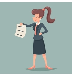 Vintage Businesswoman offer sign document through vector image