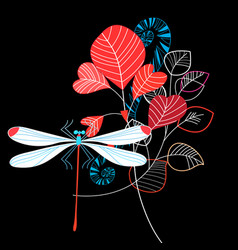 vivid summer leaves and dragonfly vector image