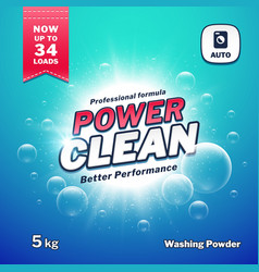 Washing powder detergent packaging design vector