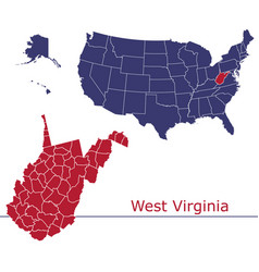 west virginia map counties with usa map vector image