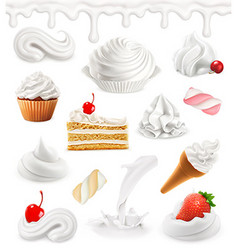 Whipped cream milk ice cream cake cupcake candy vector image