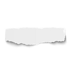 White elongate paper tear with soft shadow vector