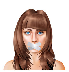 woman with closed mouth realistic composition vector image