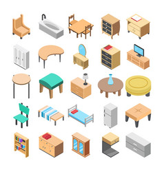 Wooden furniture flat icons vector