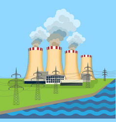 working nuclear power plant near tower set along vector image