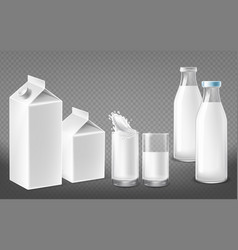 realistic package set for dairy products vector image