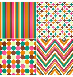seamless stripes zig zag and polka dots backgroun vector image vector image