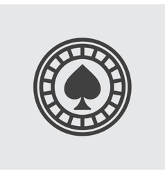 Casino chip wigh spades icon vector image