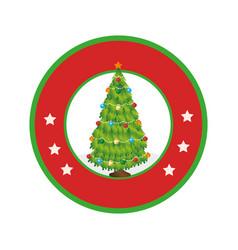 Color circular frame with christmas tree vector