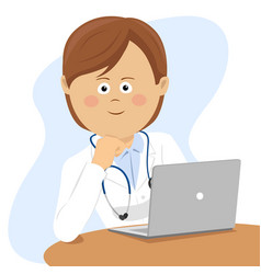 female doctor sitting at office desk with laptop vector image vector image