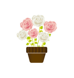 roses in pot with stem and leaves floral design vector image vector image
