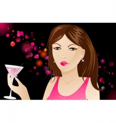 woman with martini in nightclub vector image vector image
