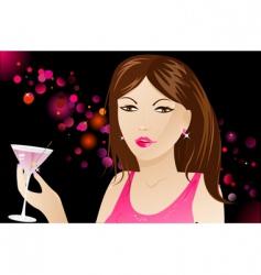 woman with martini in nightclub vector image